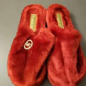 Red Fuzzy Slippers (8)by Michael Kors